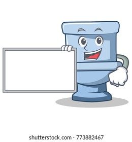 With board toilet character cartoon style