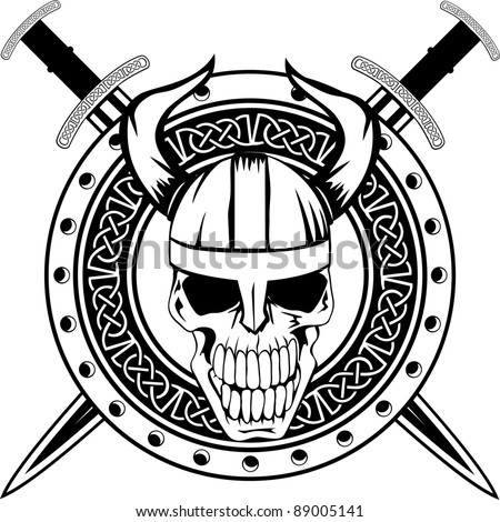 Board Viking Crossed Swords Skull Stock Vector Royalty Free