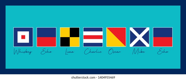 A board, Wall Ornament For Ship. Prepared with International Maritime Sign Flags and Phonetics. Vector drawing related to maritime. Wall ornament, poster, flag, label, gift card, boat decoration,