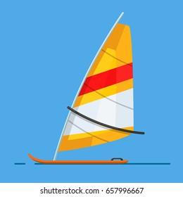 Board Windsurfing vector. Beach. Summer. Summertime.
