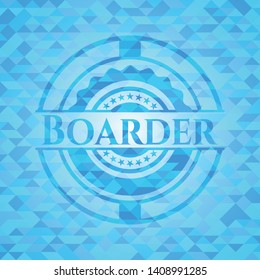 Boarder light blue emblem with mosaic background