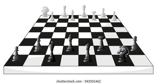 Boardgame of chess in black and white illustration