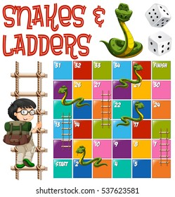 Boardgame template with ladders and snakes illustration
