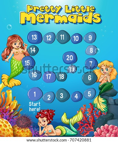 boardgame template mermaids under sea illustration stock vector