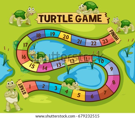 boardgame template turtles pond illustration stock vector royalty