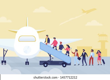Boarding in airplane concept. People waiting in line. Passenger enter the plane. Idea of journey and tourism. Vector illustration in cartoon style