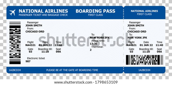 Boarding Pass Airline Ticket Template Sample Stock Vector Royalty Free 1798653109