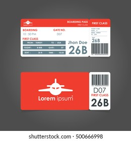 boarding pass. Airline boarding pass ticket for traveling by plane. concept of travel, journey or business with bar code. Vector illustration.
