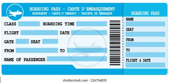 Boarding pass. Blue flight coupon. Vector illustration.