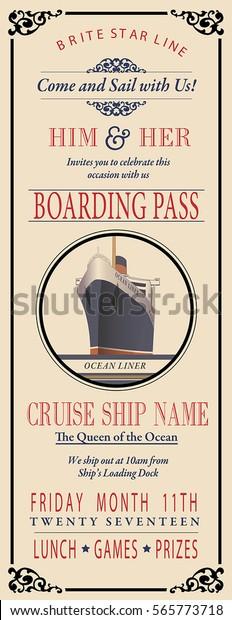 Boarding Pass Invite Stock Vector Royalty Free 565773718