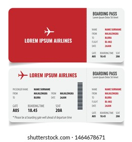 Boarding pass isolated template on white background