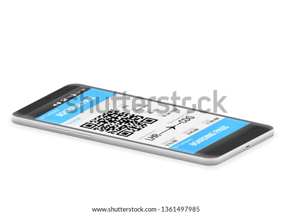 Boarding Pass Mobile On White Background Stock Vector