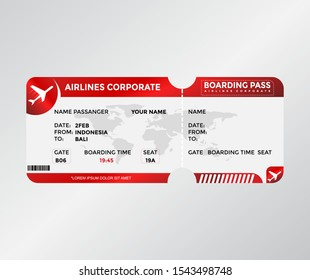 Boarding Pass Modern Red Color Vector Template