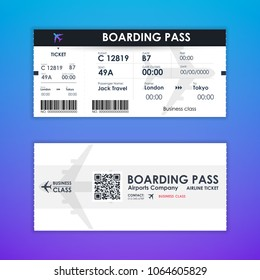Boarding pass ticket card element template for graphics design. vector illustration