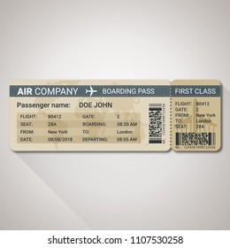 Boarding pass ticket template for a plane with passenger name and destination route. Vector illustration