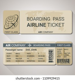 Boarding pass ticket template for a plane from two sides with passenger name and destination route. Vector illustration