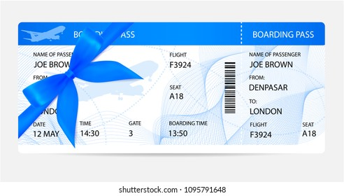 Boarding pass (ticket, traveler check template) with gift bow, aircraft (airplane or plane) silhouette on background. Travel by Aerial Transport. Enjoy your vacation. Isolated vector on white
