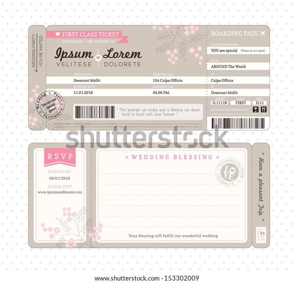 Boarding Pass Ticket Wedding Invitation Template Stock