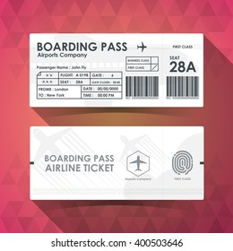 Boarding pass ticket white paper design. vector illustration.