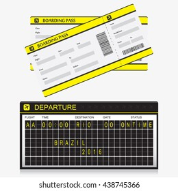 Boarding pass tickets with flip airport board vector isolated on white