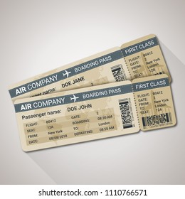 Boarding pass tickets template for a plane with passenger name and destination route. Vector illustration