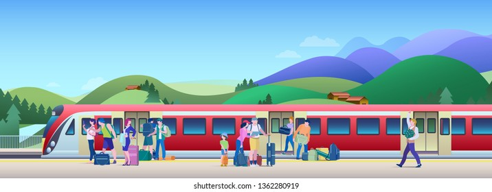 Boarding Train at the Railway Station with hills on background Vector Illustration. People get on train from platform.