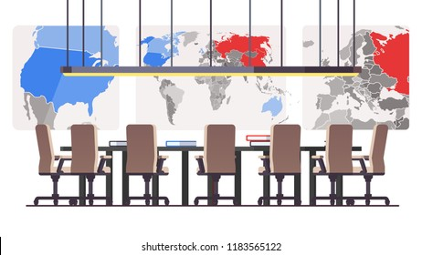 Boardroom with big political maps in background and seven seats at round table. Corporate executive management conference hall or meeting room. Flat style vector illustration isolated on white
