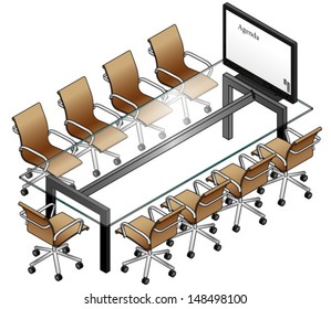A boardroom setting with a glass table, leather chairs and a smartboard / screen / monitor.