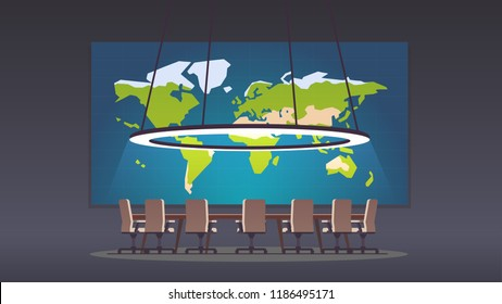 Boardroom with world map on big projection screen and seven seats. Board of directors. Conference hall or meeting room. Flat style vector illustration isolated on black background