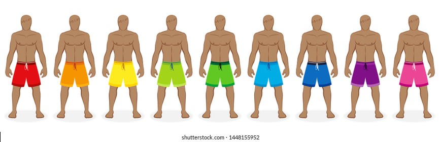 Boardshorts. Rainbow colored collection of bermudas for nine men - red, orange, yellow, green, blue, purple, pink. Isolated vector illustration on white background.