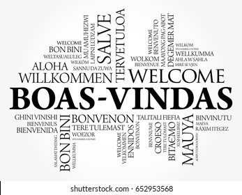 Boas-Vindas (Welcome in Brazilian Portuguese) word cloud in different languages, conceptual background