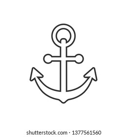 Boat anchor sign icon in flat style. Maritime equipment vector illustration on white isolated background. Sea security business concept.