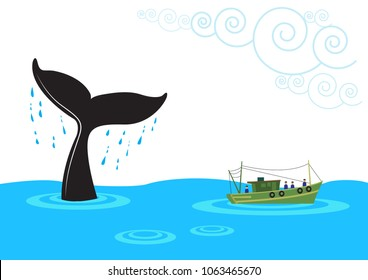 A boat approaches a tail of cetacean animal like the whale as it emerges up from the ocean. Editable Clip Art.