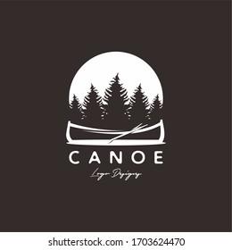 Boat Canoe logo design with forest background for logo design vector