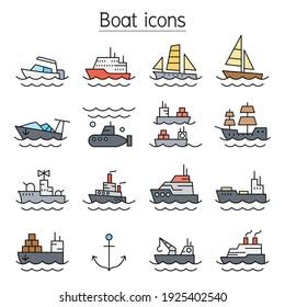 Boat color line icons set