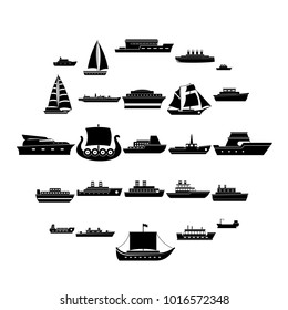 Boat cruise ship steamer icons set. Simple illustration of 25 boat cruise ship steamer vector icons for web