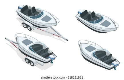 Boat or cutter on a trailer. The launching of a small motor boat at a ramp. Flat 3d isometric high quality water transport