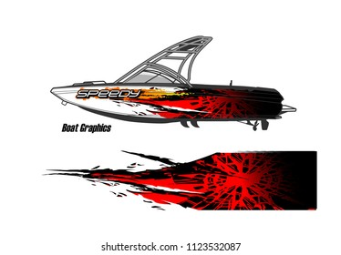 boat decal Graphic vector. abstract racing background design for vehicle vinyl wrap