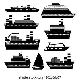 Boat design over white background, vector illustration