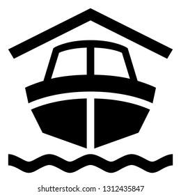 Boat In Dry Dock Vector Icon