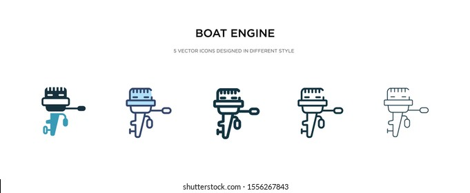 boat engine icon in different style vector illustration. two colored and black boat engine vector icons designed in filled, outline, line and stroke style can be used for web, mobile, ui