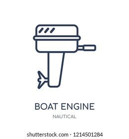 Boat Engine icon. Boat Engine linear symbol design from Nautical collection. Simple outline element vector illustration on white background.
