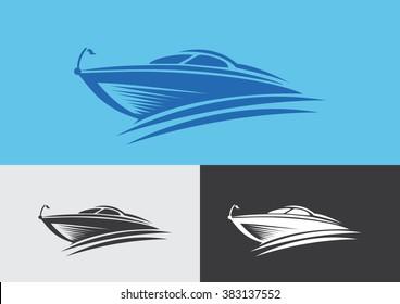 Boat fast flat logo vector