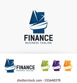 Boat Finance, vector logo template