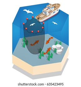 The boat for fishing. Isometric. Vector illustration.
