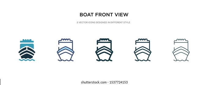 boat front view icon in different style vector illustration. two colored and black boat front view vector icons designed in filled, outline, line and stroke style can be used for web, mobile, ui