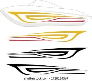 Boat Graphics, Stripe : Vinyl Ready Vector Illustration