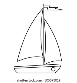 Boat icon. Outline illustration of boat vector icon for web