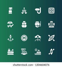 boat icon set. Collection of 16 filled boat icons included Kayak, Ship, Padthai, Boat, Beach, Metro, Anchor, Aqualung, Diver, Vehicle, Dive, Thailand, Desinfectant