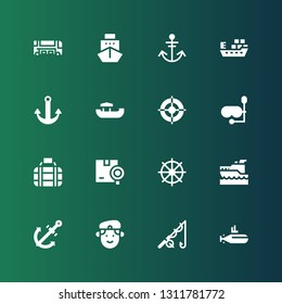 boat icon set. Collection of 16 filled boat icons included Submarine, Fishing, Militar, Anchor, Yatch, Helm, Shipping, Transport, Diving mask, Boat, Ship, Bus